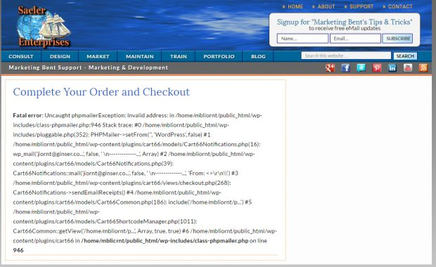 Cart66 Checkout Error phpmailer.php:946 in WP 4.6