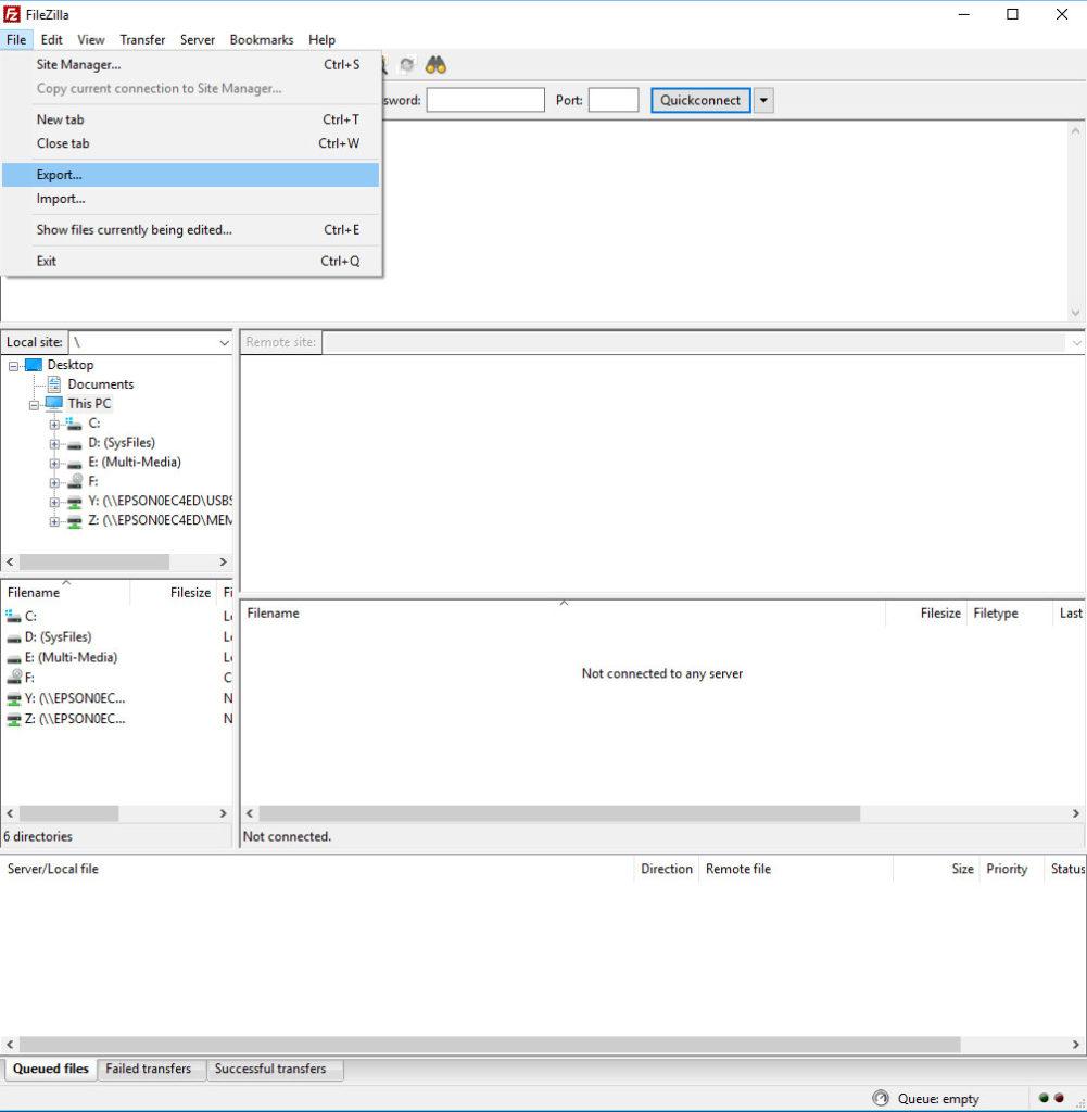 FileZilla Export